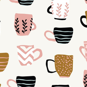 Cute hand drawn minimalistic cups on light background