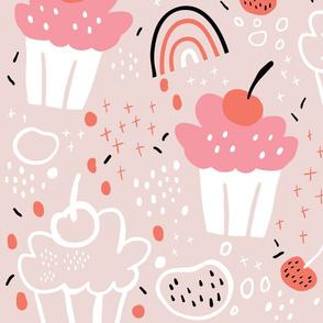 Pink cupcakes & rainbows