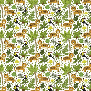 Seamless pattern of a tiger in the jungle