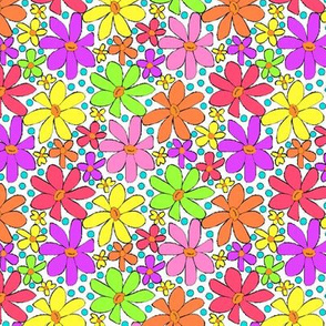 Multicolor Hippie Daisies on White