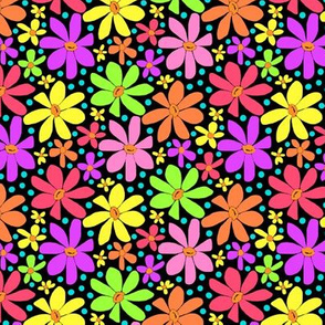 Multicolor Hippie Daisies on Black
