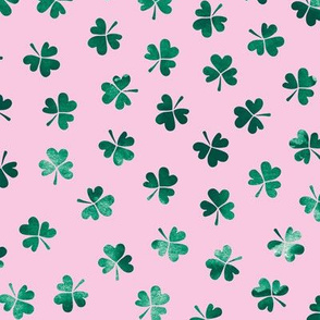 Watercolor clover garden St Patrick's Day shamrock lucky charm pink green