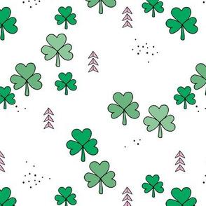 St Patrick's day little green shamrock lucky charm clover leaves green white