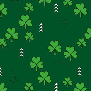 St Patrick's day little green shamrock lucky charm clover leaves forest green