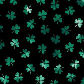 Watercolor clover garden St Patrick's Day shamrock lucky charm night emerald green