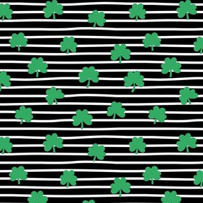 St Patrick's day clovers and stripes shamrock lucky charm green black