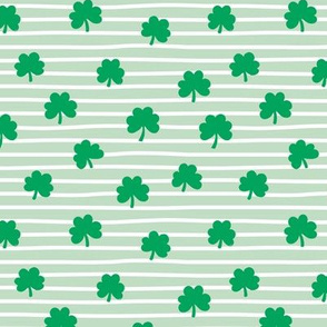 St Patrick's day clovers and stripes shamrock lucky charm green