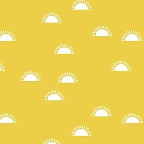 Little sunshine morning minimal trend abstract kids nursery design bright yellow day