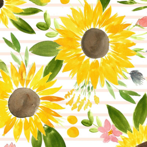 Sweet Sunflowers Field Watercolor Floral - Soft Blush Stripes - LARGE