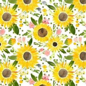Sweet Sunflowers Field Watercolor Floral - Green Dots