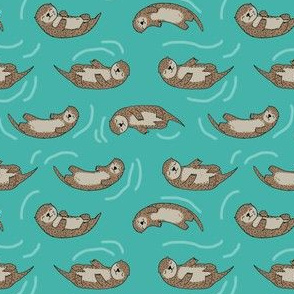 SMALL -  otter fabric // cute otters design animals fabric nursery baby andrea lauren - turquoise