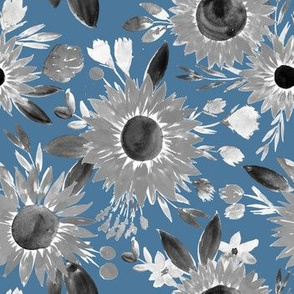 black and white sunflowers on blue