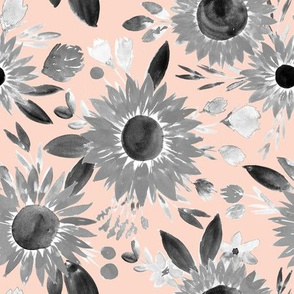 black and white sunflowers on blush pink