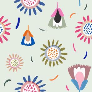 Floral Confetti on Sage