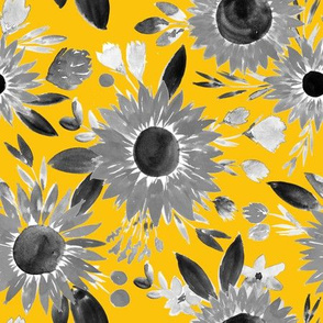 black and white sunflowers on mustard