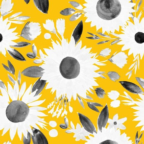 white and black sunflowers on mustard