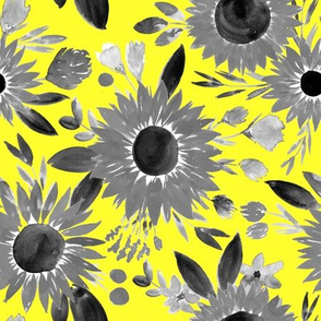 black and white sunflowers on bright yellow