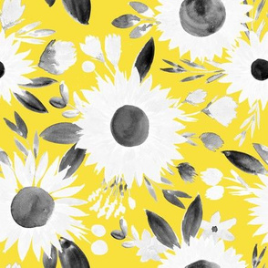 white and black sunflowers on golden yellow