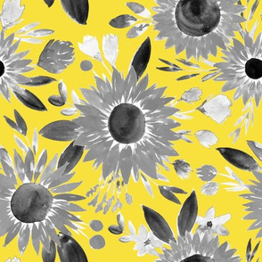black and white sunflowers on golden yellow