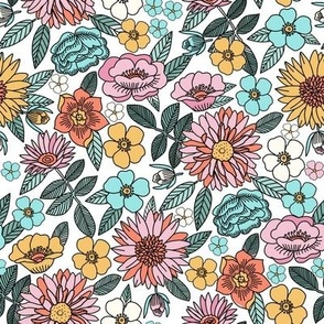 MEDIUM - Happy flowers fabric - spring floral, baby girl floral, spring flowers fabric, floral fabric, 70s floral, retro floral - white