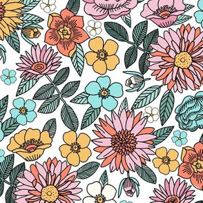 LARGE -Happy flowers fabric - spring floral, baby girl floral, spring flowers fabric, floral fabric, 70s floral, retro floral - white