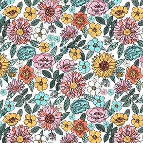SMALL Happy flowers fabric - spring floral, baby girl floral, spring flowers fabric, floral fabric, 70s floral, retro floral - white
