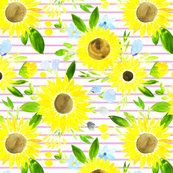 Sweet Sunflowers Field Spring Floral - lilac stripes