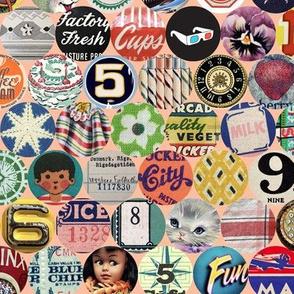 Bits & Pieces* (Peach Halves) || vintage ephemera paper typography retro kitsch tickets numbers letters alphabet cat horse fruit birthday flowers