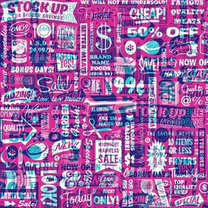 Stock Up!* (Television Blue on Pink Riot)    text typography store market grocery supermarket sale food vintage retro