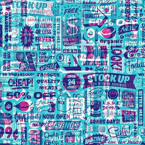 Stock Up!* (Pink Riot on Television Blue)    text typography store market grocery supermarket sale food vintage retro
