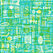 Stock Up!* (Diamond Dust on Television Blue)    text typography store market grocery supermarket sale food vintage retro