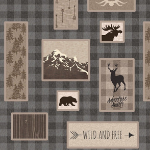 Woodland Collage on Plaid - brown/grey