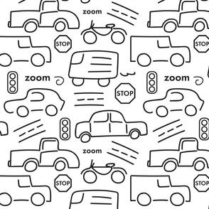 Cars and Trucks - B/W