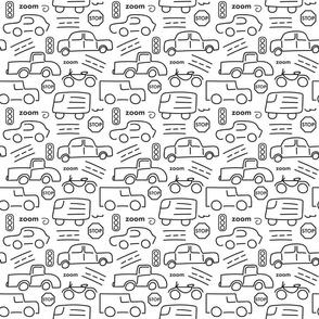 Cars and Trucks - B/W - Small
