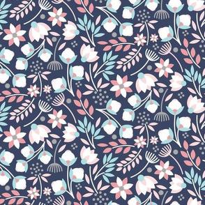 Modern Cotton Boll Floral Pink Blue Navy