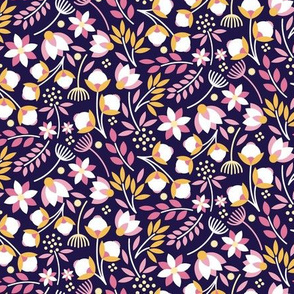 Modern Cotton Boll Floral Royal Purple