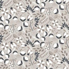 Modern Cotton Boll Floral Tan