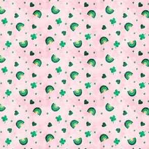 (extra small scale) Rainbows and clovers - St Pattys Day - Lucky Rainbows - pink and green - LAD20BS