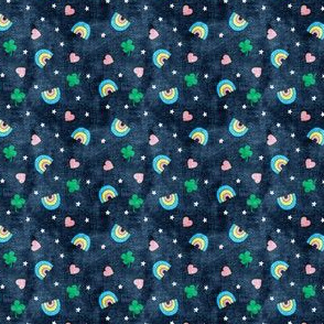 (extra small scale) Rainbows and clovers - St Pattys Day - Lucky Rainbows - navy - LAD20BS