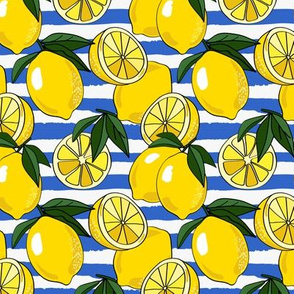 Allover Lemons on Torn Stripe