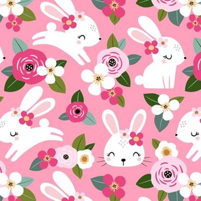 floral bunny - pink