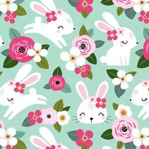 floral bunny - mint