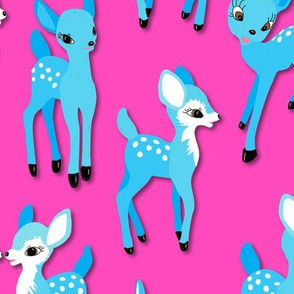 Vintage Kitsch Blue Fawns on Pink
