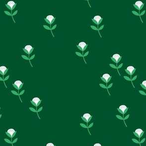 Sweet St Patrick's Day cotton flowers botanical floral spring summer print spring forest green