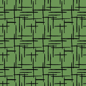 Abstract St Patrick's Day green geometric raster checkered stripe stroke and lines trend pattern grid