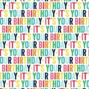 it's your birthday XSM rainbow with navy UPPERcase