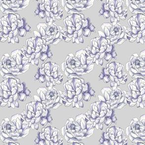 purple peony with gray