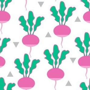 random pink radishes