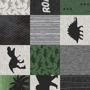 Dinosaur Roar Patchwork- green/black - rotated