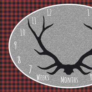 Milestone Blanket- Red, Black, grey Antlers - northwoods